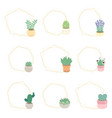 cute luxury flat style cactus and succulent vector image vector image