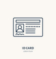 documents identity flat line icon id card vector image