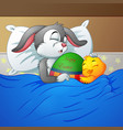 easter rabbit and chicken easter sleeping together vector image vector image