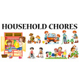 Family members doing different chores vector image vector image