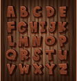 font design for english alphabets with brown color vector image