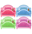 Four colorful beds vector image vector image