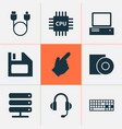 gadget icons set with cursor floppy disk server vector image vector image