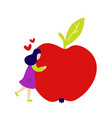 girl hugging big red apple vector image vector image