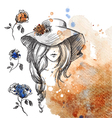 girl in a hat on a watercolor background vector image vector image
