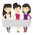 group of young women holding white blank board vector image vector image