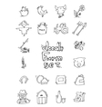 hand drawn farm icon set vector image