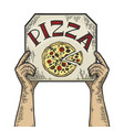 hands with pizza box color sketch vector image