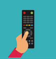 human hand with black remote tv control flat vector image vector image