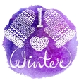 I love winter text and knitted woolen mittens vector image vector image