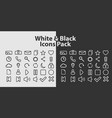 icons on white and black background vector image vector image