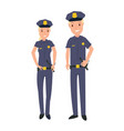 male and female police officer in cartoon style vector image vector image