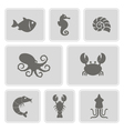 monochrome icons with sea food and products vector image