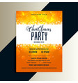 orange merry christmas party flyer with shiny vector image