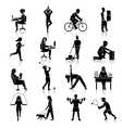 Physical activity icons black vector image vector image
