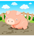 Pig in farm vector image