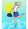 pop art happy businesswoman vector image vector image