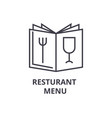 restaurant menu line icon outline sign linear vector image vector image