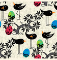 seamless pattern cute birds eggs on textured vector image vector image