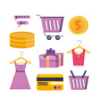 set digital shopping technology with credit vector image