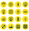 set of 16 computer hardware icons includes router vector image vector image