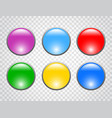 set of color round buttons on transparent vector image