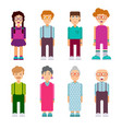 set of males and females characters in flat design vector image
