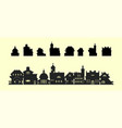 set silhouettes houses in old style vector image vector image