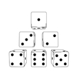 Six white cartoon-style dice cubes vector image vector image