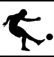 soccer player kicks the ball silhouette vector image vector image