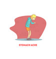 stomach ache banner template boy suffering from vector image