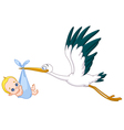 Stork and baby boy vector | Price: 1 Credit (USD $1)