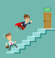 super businessman in red cape flying pass another vector image vector image