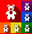 teddy bear sign set of icons vector image