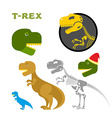 Tyrannosaurus collection of items Bones and the vector image vector image