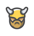 viking warrior helmet head icon cartoon vector image vector image