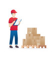 warehouse worker checking goods on pallet stock vector image vector image