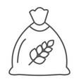 wheat bag thin line icon grain and farm seed