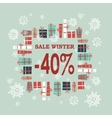 Winter sale background with red lettersgifts and vector image