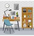 Workplace and shelving unit with gray brick wall vector image vector image