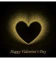 Happy Valentines Day Card with Gold Glittering vector image