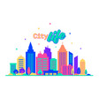 city life silhouettes of buildings with neon glow vector image