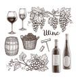 wine set isolated on white background vector image
