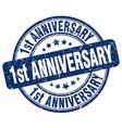 1st anniversary blue grunge stamp
