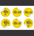 40 percent off yellow paper sale stickers vector image vector image