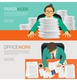Busy businessman working with paperwork on her vector image
