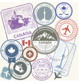 canada travel stamps set - toronto journey vector image vector image