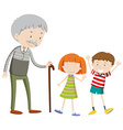 Children and old man vector image vector image