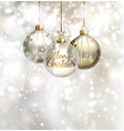 Christmas three evening balls Gold silver vector image