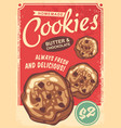 cookies poster design made in retro style vector image vector image